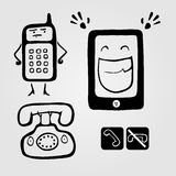 Monster phones!. Set of few icons silhouettes with different phones Stock Illustration