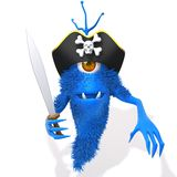 Monster pirate 3d illustration. Over white background Stock Photos