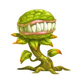 Monster plant illustration. Vector icon, isolated on white background Stock Photos