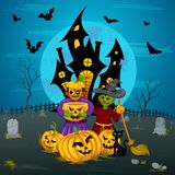 Monster with pumpkin in Halloween night Royalty Free Stock Image