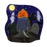 Monster with a pumpkin head with scythe on cemetery dark moonlit night vector illustration