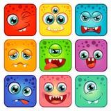 monster Quadratische Karikaturgesichter mit Gefühlen Lizenzfreies Stockbild