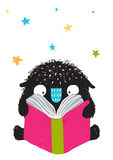 Monster Reading Book Cartoon for Kids Royalty Free Stock Images