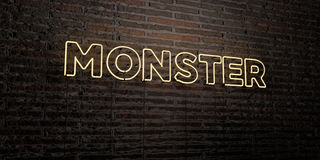 MONSTER -Realistic Neon Sign on Brick Wall background - 3D rendered royalty free stock image Stock Image