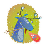 Monster reindeer Chrismas New Year funny greeting card Stock Photos