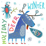 Monster reindeer Chrismas New Year funny winter holidays greeting card Royalty Free Stock Photo