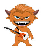 Monster rocker with an electric guitar. Illustration on white of a Monster rocker with an electric guitar Royalty Free Stock Image
