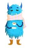 Monster's teatime. Blue fluffy monster drinking tea Royalty Free Stock Image