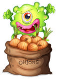 A monster and a sack of onions Royalty Free Stock Photos