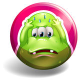 Monster. Sad monster on pink badge Royalty Free Stock Images