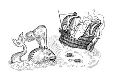 Monster and sailing ship. Hand-drawn sketch of fish monster and sailing ship Stock Image