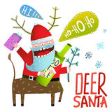Monster Santa Deer Christmas or New Year celebration holiday greetings. Stock Images