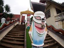 Monster sculpture figure on staircase to PHI-TA-KHON folklore folk art museum Royalty Free Stock Image