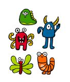Monster set. 5 Cute monster set Stock Photo