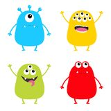 Monster set. Cute cartoon colorful scary character. Eyes, tongue, hands up. Funny baby collection. White background Isolated. Happ. Y Halloween card. Flat design Royalty Free Stock Photos