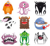 Monster set. Space Alien Set UFO Monster Tentacle Spacecraft Invaders  illustration Stock Photo