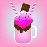 Monster shake with chocolate bar. Giant milkshake on pink background. Vector illustration royalty free illustration