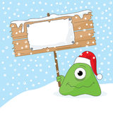 Monster with Sign. The monster holding the placard with your christmas message. All elements are easily moved stock illustration