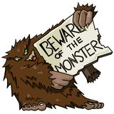 Monster with sign Royalty Free Stock Image