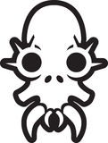 Monster skull with spikes over eyes. And large fangs. Black and white outline Royalty Free Illustration
