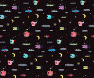Monster Sky Flying Fish seamless pattern for Kids Design black background. Seamless pattern Fun Cute Cartoon Monsters for Kids Design background. Underwater Stock Photo