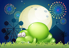 A monster sleeping at the carnival Royalty Free Stock Image