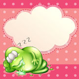 A monster sleeping and salivating with an empty cloud template a Royalty Free Stock Images