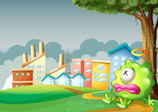 A monster sleeping under the tree across the factories. Illustration of a monster sleeping under the tree across the factories Stock Image