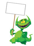 Monster smile with a sign. Illustration of a monster smile  with a sign Stock Photography