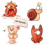 Monster snigel, björn, katt - tecknad filmtecken vektor illustrationer
