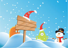Monster and snowman Royalty Free Stock Images