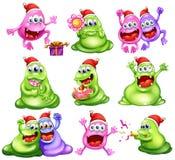 Monster som firar jul Arkivbilder