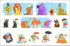 Monster som fotvandrar och campar Färgrika tecken för skraj varelser med att gå utomhus stock illustrationer