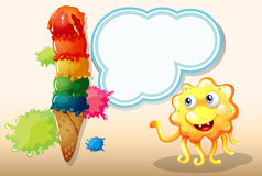 A monster staring at the giant icecream Stock Images