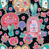 Monster sticker drawing seamless pattern Royalty Free Stock Photos