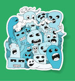 Monster stickers. In flat style Royalty Free Stock Photo