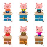 Surprise box with cute pig. This is birthday icon illustration dsign stock illustration