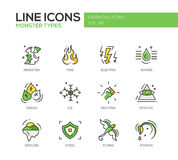 Monster Sypes - linje designsymbolsuppsättning vektor illustrationer