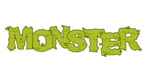 Monster text. Scary lettering and typography. Green terrible Let Royalty Free Stock Photography