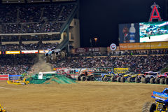Monster truck at Angel Stadium. Blue Thunder in action during the Monster Jam competition Royalty Free Stock Image