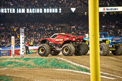 Monster truck at Angel Stadium. Iron Man and Obsessed ready for some action during the Monster Jam competition Royalty Free Stock Images