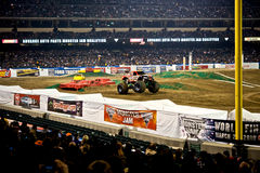 Monster truck at Angel Stadium. Iron Outlaw in action during the Monster Jam competition Stock Image