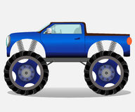 Monster truck with big wheels. Car vehicle in blue. Vector realistic illustration Royalty Free Stock Photos