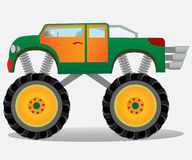 Monster truck with big wheels. Car vehicle in green and orange. Stock Photo