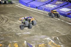 Monster truck. Truck capture in mid air during the Monster Truck competition in Toronto royalty free stock images