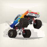 Monster truck car. Poster illustration with cartoon monster truck standing on back wheels exhausting fume Stock Image