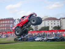 Monster truck crushing Stock Photo