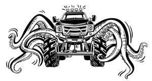 Monster truck do vetor com os tentáculos do molusco Tatuagem animal místico do carro Aventura, curso, fora símbolos da arte Imagens de Stock Royalty Free