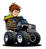 Monster truck dos desenhos animados com motorista ilustração royalty free