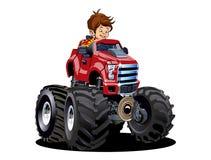Monster truck dos desenhos animados com o motorista isolado no branco ilustração royalty free